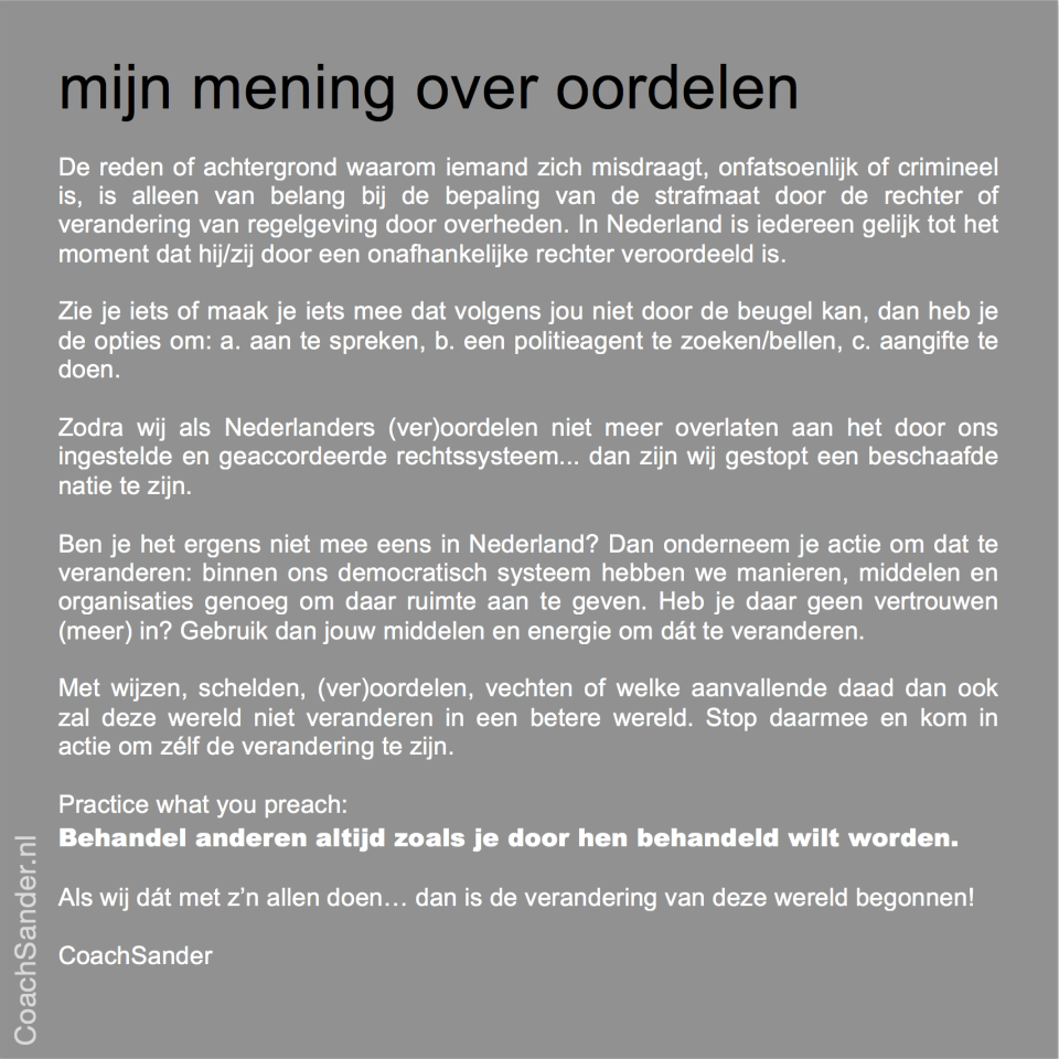 mijn mening over oordelen - CoachSander.nlv