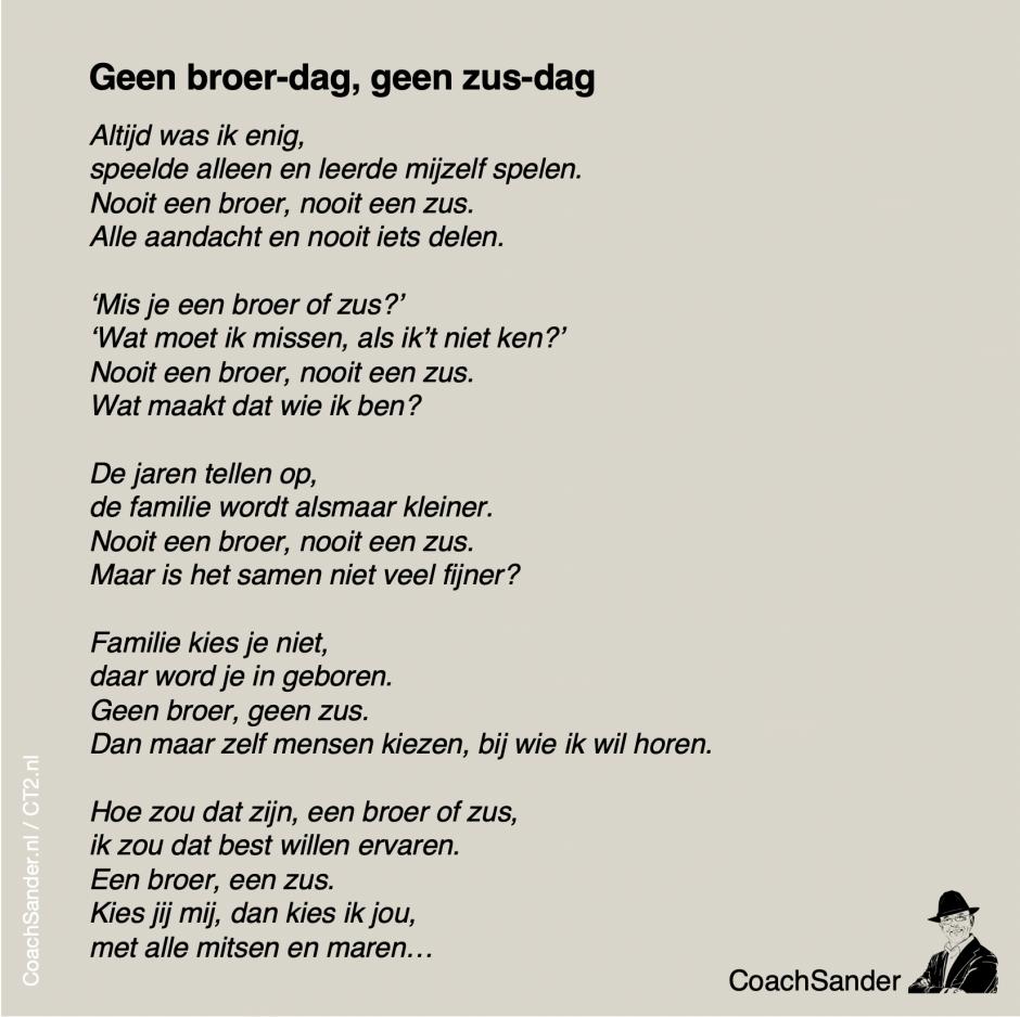 geen broer-dag geen zus-dag - CoachSander.nl